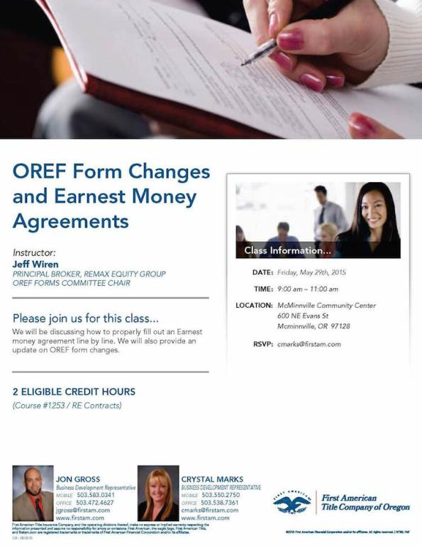 Class about OREF Form Changes and Earnest Money Agreements