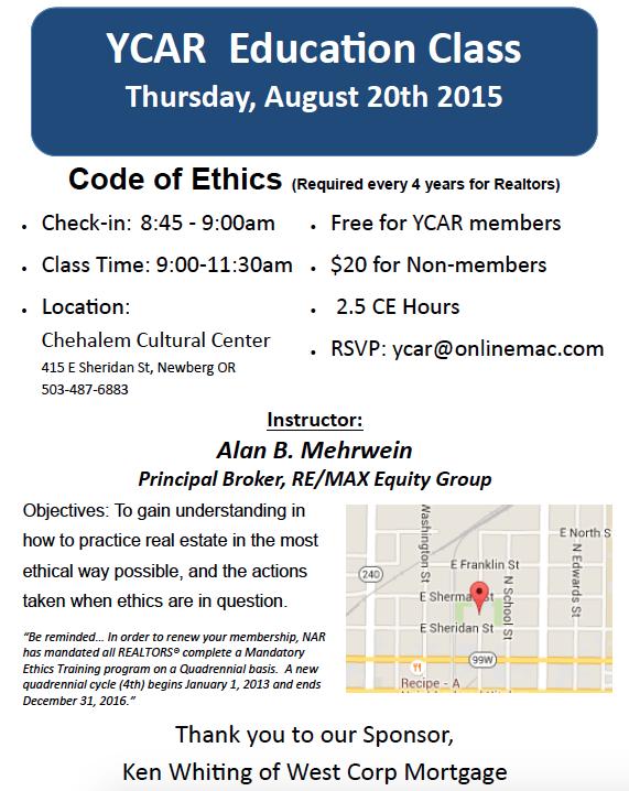 YCAR Ed Class Flyer Aug 20, 2015